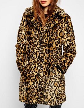 Image 3 ofASOS Faux Fur Coat In Animal Print