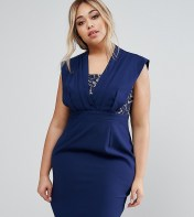 Little Mistress Plus Lace Insert Pencil Dress - Navy