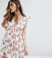 Sacred Hawk Sacred Hawk Tea Dress With Ruffle Sleeves And Harness Neck Detail - White 2018