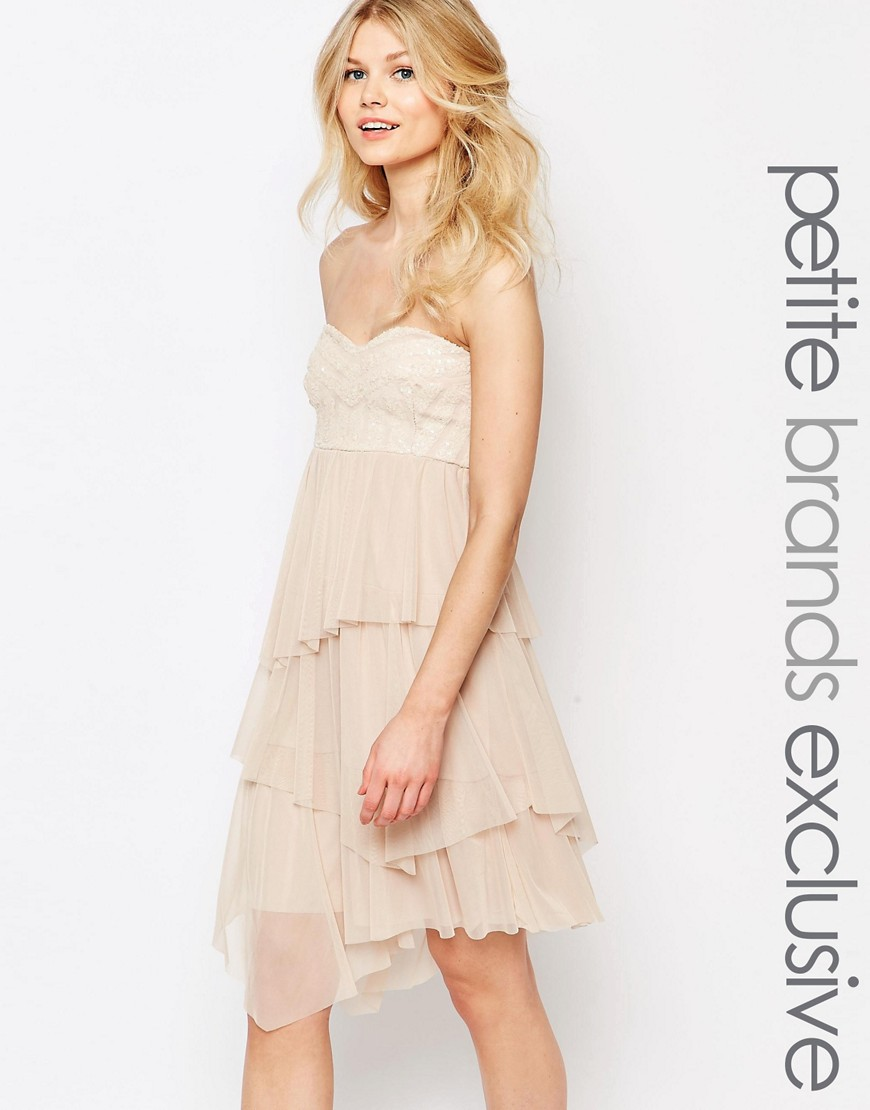 Image 1 of John Zack Petite Bandeau Baroque Sequin Mesh Ruffle Tulle Midi Dress