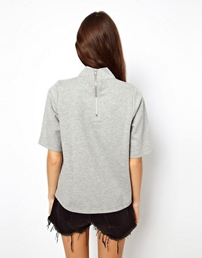 Image 2 of ASOS Sweatshirt in Bonded Fabric with High Neck