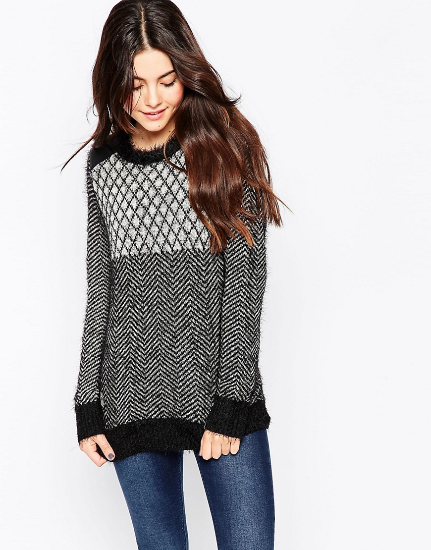 Image 1 ofBellfield Chunky Knit Jumper With Grid Panel