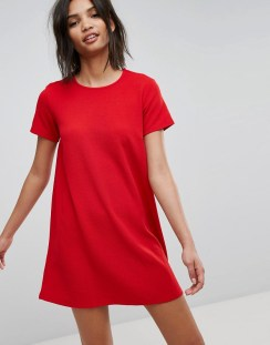 Stradivarius Short Sleeve Shift Dress - Red