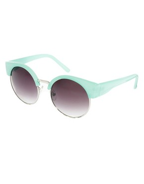 Image 1 of ASOS Half Frame Kitten Round Sunglasses