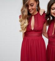 TFNC Tall TFNC Tall WEDDING Lace Detail Midi Dress - Red 2018