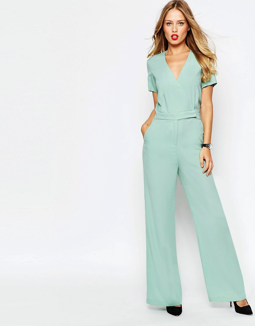 Image 1 of ASOS Tailored Wrap Front Jumpsuit