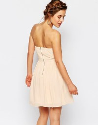 Bandeau Chiffon Mini Dress by TFNC Petite WEDDING - Nude