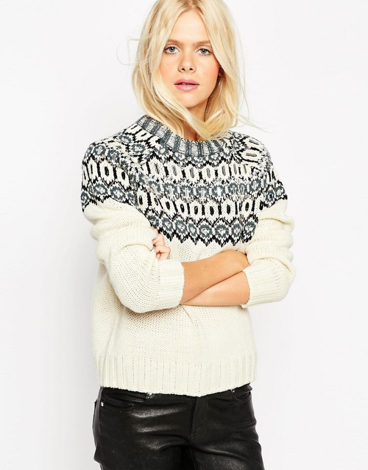 ASOS Christmas Jumper In Pattern with Embellishment