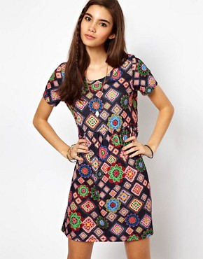 Image 1 of ASOS Smock Dress In Blanket Print