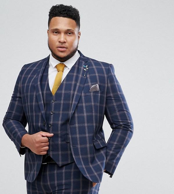 Harry Brown Slim Fit Blue Check Windowpane Su 68