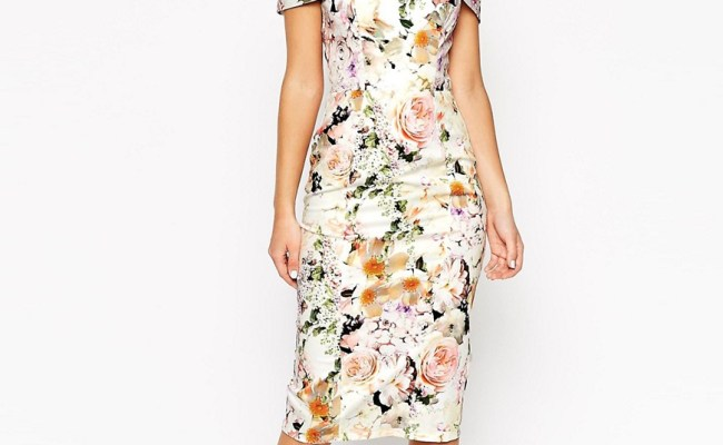 Asos Asos Wedding Bardot Floral Off Shoulder Pencil