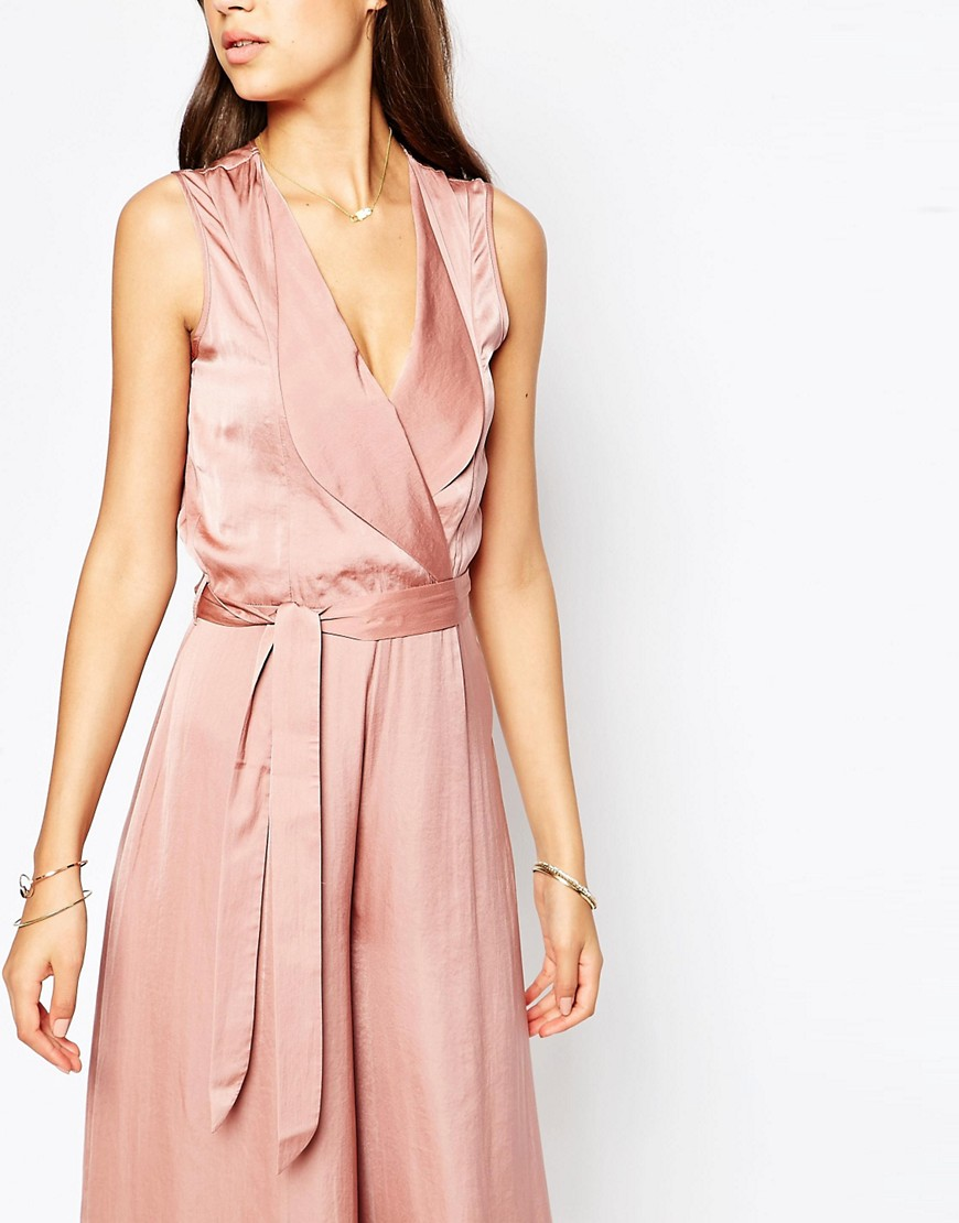 Image 3 of ASOS TALL Wrap Front Wide Leg Jumpsuit