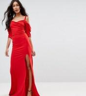 TFNC Tall TFNC Tall Fishtail Maxi Dress With 80'S Off Shoulder - Red 2018