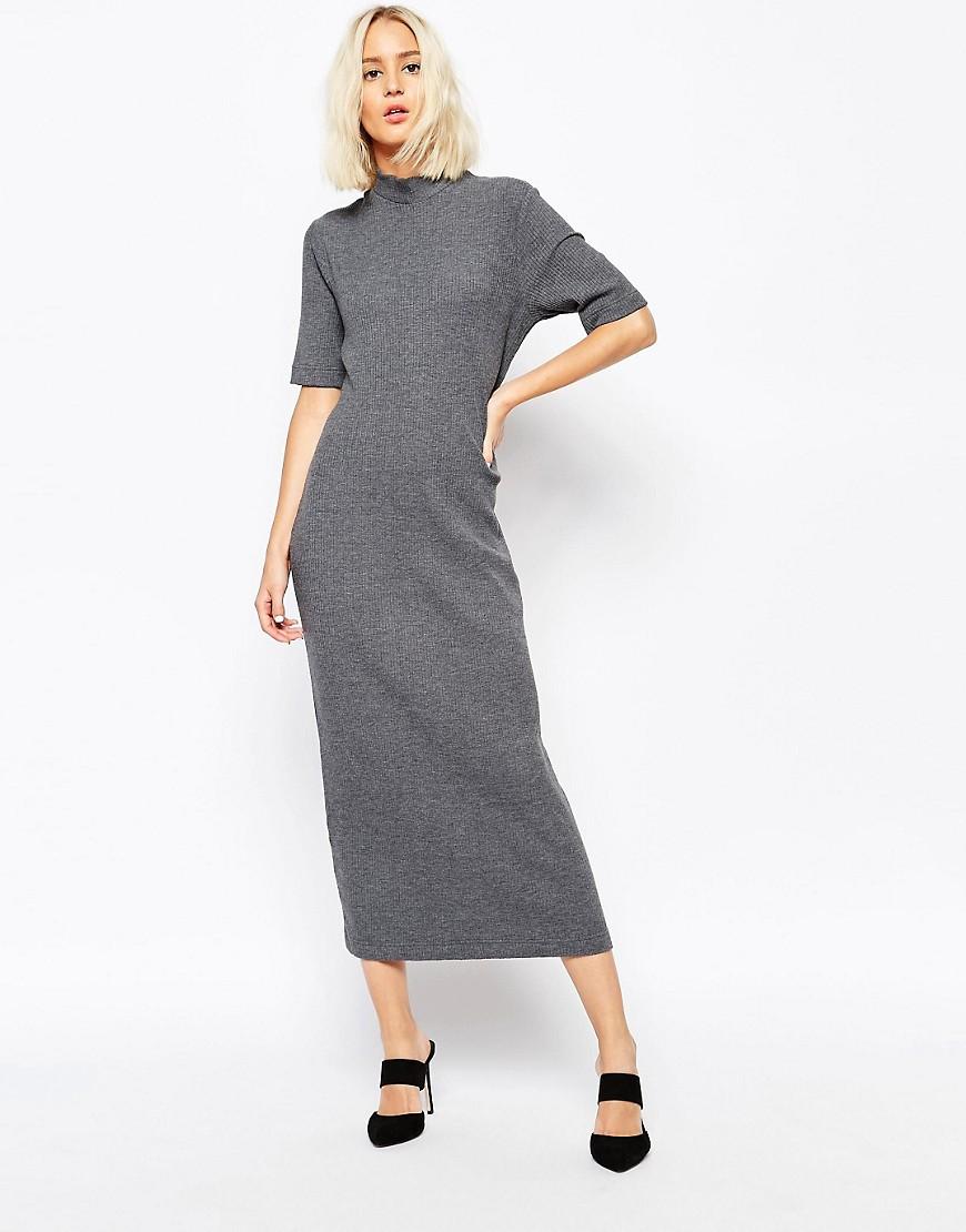 Image 1 - Weekday - Pega - Maxi robe côtelée à encolure montante