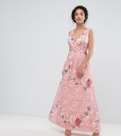 Little Mistress Petite Little Mistress Petite Wrap Front Detail Prom Dress In All Over Floral Printed Lace - Multi 2018