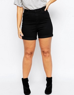 Image 4 of ASOS CURVE Exclusive Denim Short With High Waist