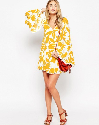 70's Dress with Fluted Sleeve in Retro Print £38 from ASOS