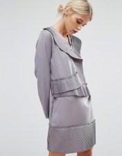Zacro Zacro Shift Dress With Asymmetric Pleats - Grey 2018