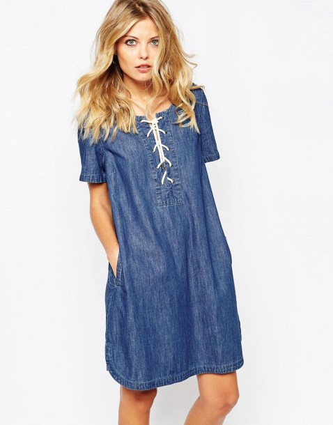 Image 1 of Noisy May Cadance Lace Up Denim Dress
