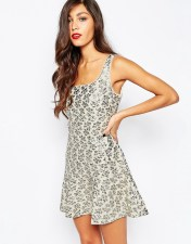 BCBG Max Azria Metallic Puff Jacquard Dress in Silver - Silver