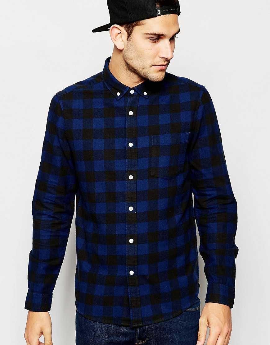 Image 1 of ASOS Shirt In Buffalo Check With Long Sleeves