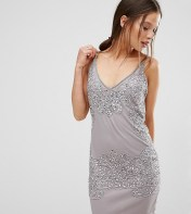 Boohoo Petite Boohoo Petite Boutique Beaded Bodycon Dress - Silver 2018