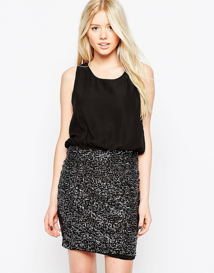 Image 1 of Vero Moda Two-In-One Dress With Sequin Skirt