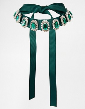 Image 1 of ASOS Emerald Jewel Ribbon Choker Necklace