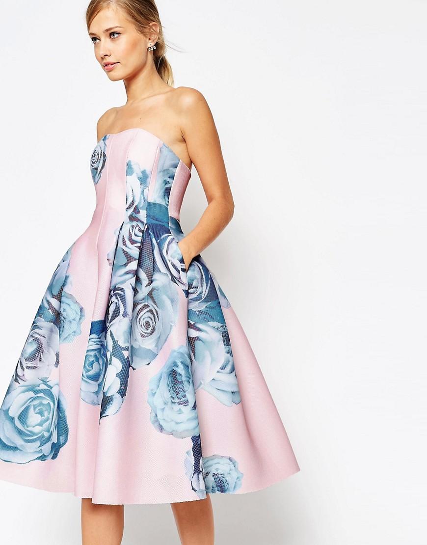 Image 3 ofASOS SALON Rose Printed Mesh Bandeau Dress
