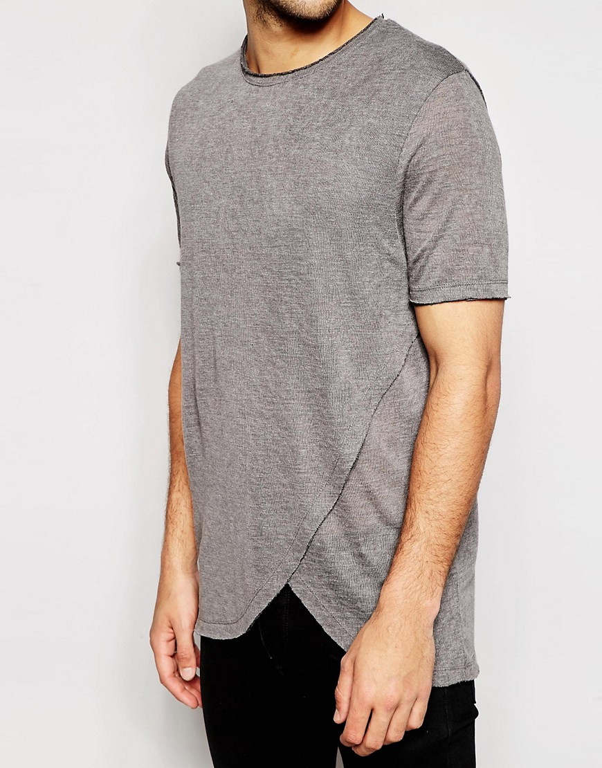Image 3 of ASOS Longline T-Shirt With Curved Hem And Raw Edges