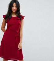 Yumi Petite Yumi Petite Midi Tea Dress With Frill Sleeve - Red 2018