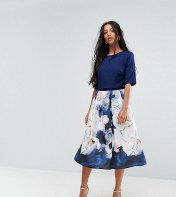 Little Mistress Petite Little Mistress Petite Short Sleeve Skater Dress With Printed Skirt - Multi 2018