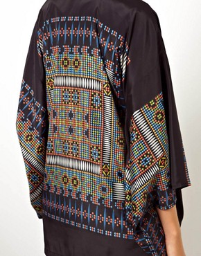 Image 3 of ASOS Kimono With Dramatic Sleeves In Digital Placement Print