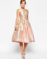 ASOS   ASOS SALON Holographic Shimmer Midi Prom Dress at ASOS