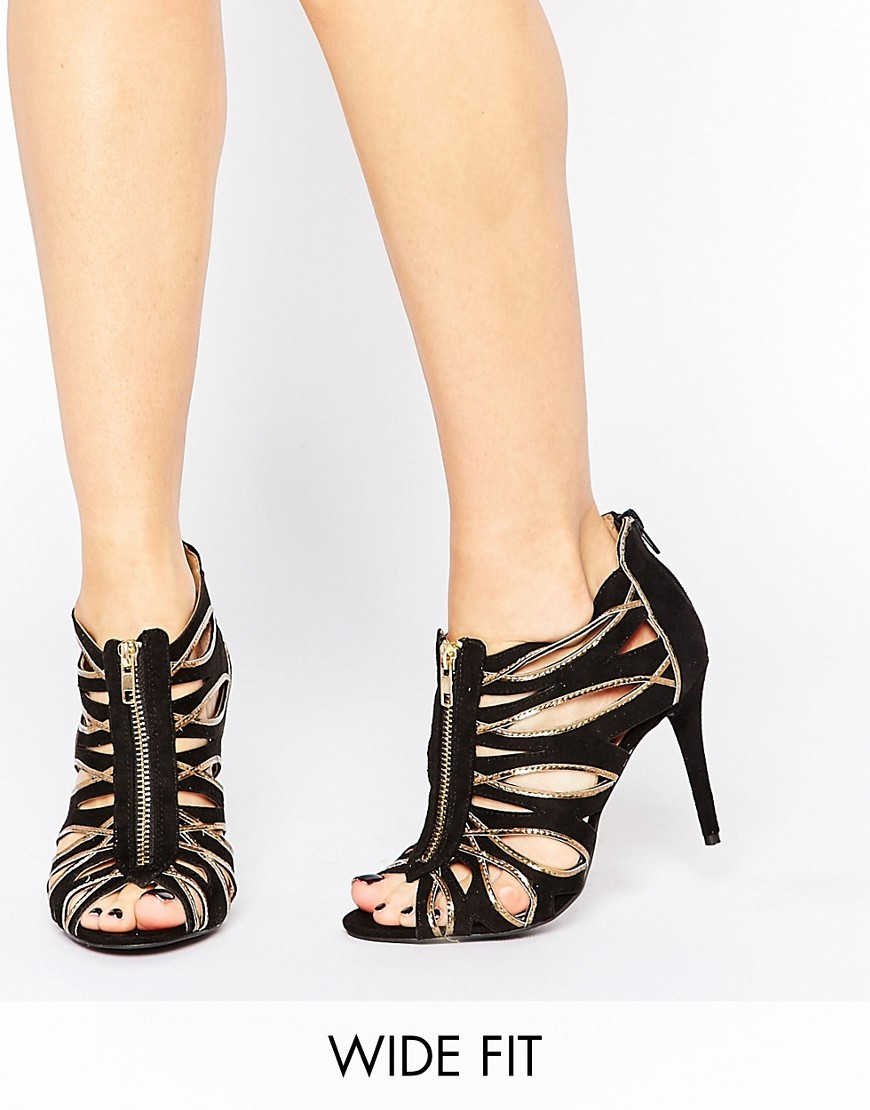 Image 1 of New Look Wide Fit Zip Front Heeled Sandals