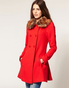 Image 1 of ASOS Fluted Back Coat With Faux Fur Collar