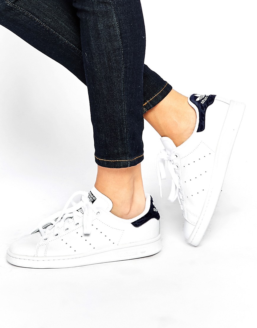 Image 1 of adidas Originals White & Indigo Stan Smith Trainers