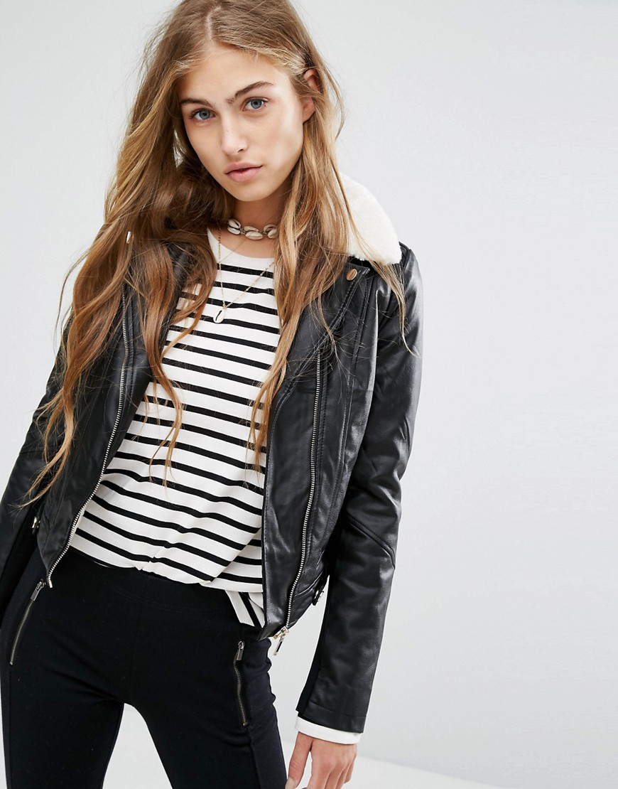 Pull&Bear Fur Collar Biker Jacket