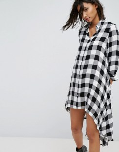Stradivarius Check Midi Shirt Dress - Black