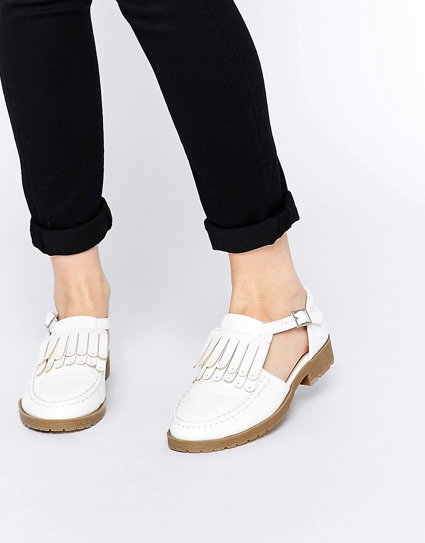 Image 1 of ASOS MACEY Fringe T-Bar Flat Shoes