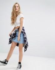 Lee Lee Denim Skirt with Released Hem - Blue 2018