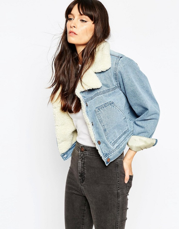 ASOS Denim Cropped Jacket In Mid Stone Wash With Fleece Lining And Collar