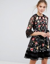 Frock and Frill Frock and Frill Premium Embroidered Mini Dress with Exaggerated Sleeve - Black 2018