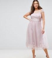 Chi Chi London Plus Chi Chi London Plus Premium Lace Midi Prom Dress with Lace Neck - Brown 2018