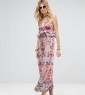 White Cove Tall White Cove Tall Frill Layered Maxi Dress In Bright Floral Print - Multi 2018