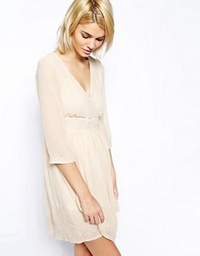 Mango Long Sleeve Embroidered Dress