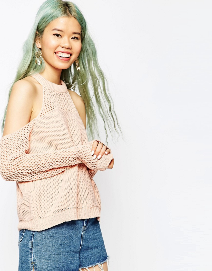 Image 1 of ASOS Jumper With Cold Shoulder In Mesh Stitch