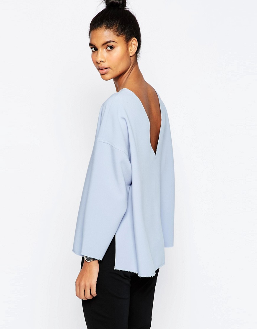 Image 1 of ASOS Oversize Top With Side Split and V Back