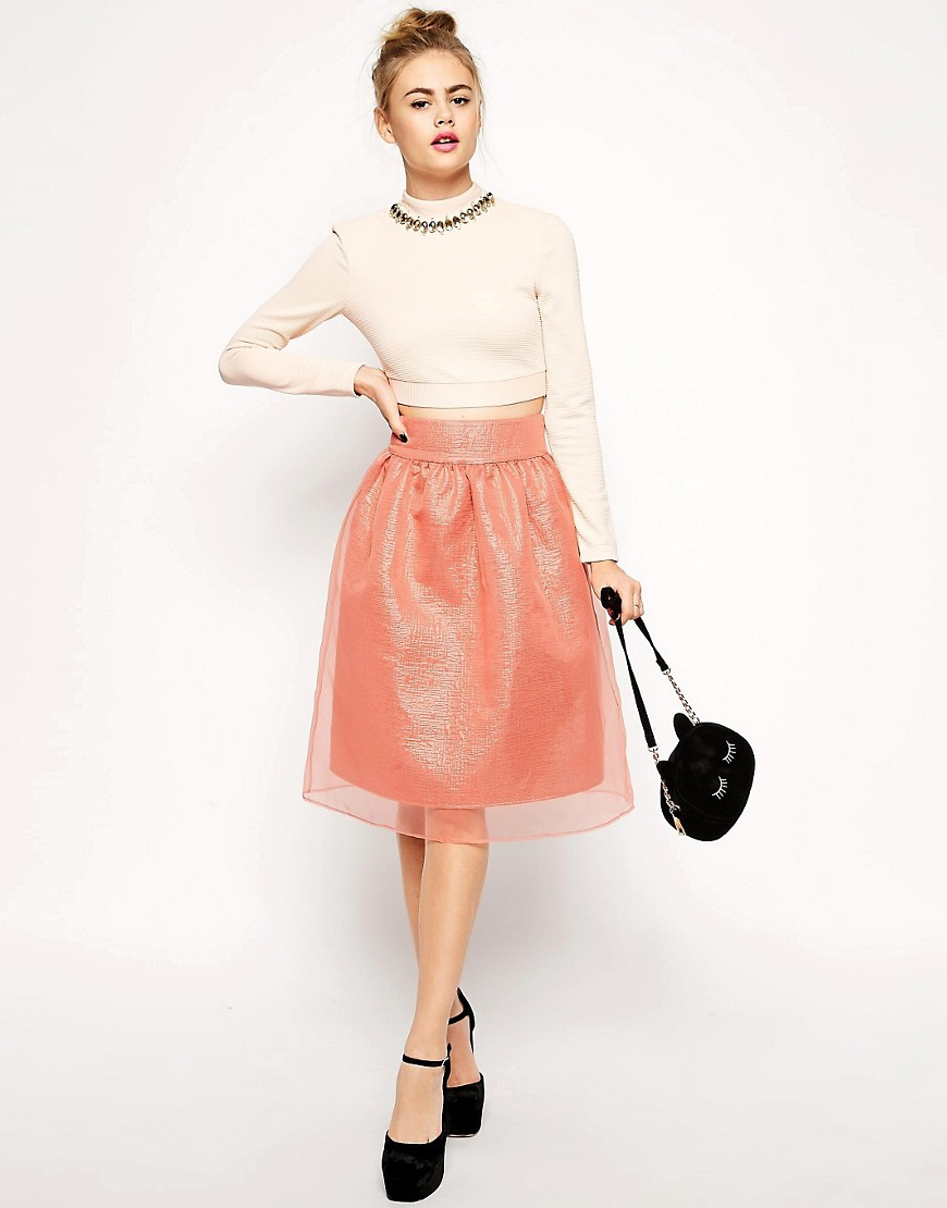 Image 1 of ASOS Premium Midi Skirt in Pink Metallic with Sheer Overlay