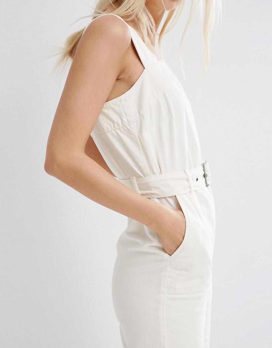 Image 3 ofASOS Denim Jumpsuit In Off White